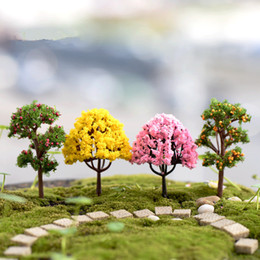 Mini tree pots online shopping - Decoration For Micro Garden Landscape Potted Lawn Mini Artificial Cherry Trees Crafts DIY T2I120