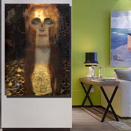 Painting Faces NZ - Canvas Prints Golden Portrait Oil Painting Mask Face Wall Pictures for Living Room Vintage Poster Home Decor No Frame