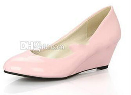 pink color women shoes wedges Australia - PU Patent leather Liangpi Work shoes Black Red White Nude Pink Wedges Women's Shoes 5 color choices US5.5-US9.5