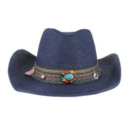 d379b252 Ethnic Handmade Knitted Straw Hat Women Men Summer Hats Western Cowboy Hat  Jazz Church Cap Sombrero Cap Sunhats