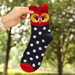 Cute Cartoon pairs online shopping - 5 Pairs New Fashion Famous Owl d Cartoon Socks Comfortable Cotton Socks Women Lovely Meias Women Cute Funny Socks
