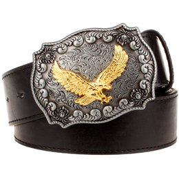 eagles belt buckle 2020 - Men's leather belt Metal buckle retro Eagle totem Pattern western style belts men Cowboy Bull belt women's gift cheap ea