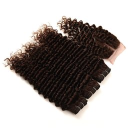 China Chestnut Brown Human Hair Weaves With 4x4 Lace Closure Brazilian Virgin Human Hair Weaves With Lace Top Closure 4Pcs Lot suppliers
