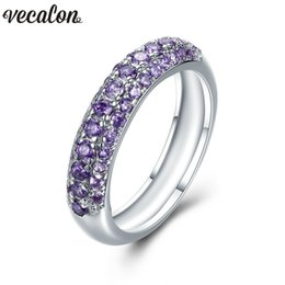 Engagement Rings Purple Diamonds NZ - Vecalon Handmade Anniversary Band ring for women pave setting Purple Diamonds Cz 925 silver Female Engagement wedding rings