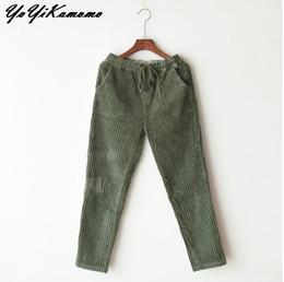 0d560489812 YoYiKamomo Women Corduroy Winter Pants 2017 New Thick Elastic Waist  Trousers Retro Pants Women