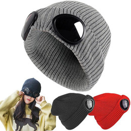7e8b8cf15af Double-use Thickened Winter Knitted Hat Warm Pilot Beanies Skullies Ski Cap  with Removable Glasses for Men Women