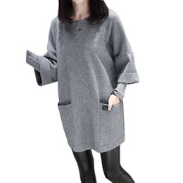 letters stitch clothing 2019 - Autumn winter new large size women's fat MM loose stitching clothes long-sleeved jacket long solid color round neck