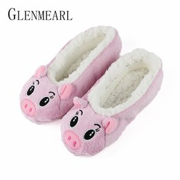 Wholesale Cute Women Slippers Animal Winter Warm Soft Indoor Slipper Home Shoes Flats Non Slip Comfortable Fur Slippers Chirstmas Gift