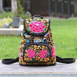 $enCountryForm.capitalKeyWord Australia - Flowers Embroidered Women Bag Canvas Shoulder Backpack Ladies Rucksack Back Pack School Bag