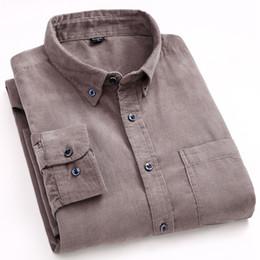 Smart Clothing NZ - New 2018 Long Sleeve 100% Cotton Men's Corduroy Dress Shirts Fashion Classic Button-down Soft Clothing Male Smart Casual Shirt