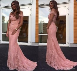$enCountryForm.capitalKeyWord NZ - Vintage Pink Off the Shoulder Lace Appliques Mermaid Prom Dresses Sheer Neck Nude Mesh Top Elegant Evening Gowns Cheap Vestidos De Novia
