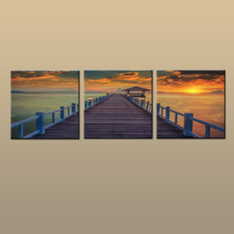 $enCountryForm.capitalKeyWord NZ - Framed Unframed Hot Modern Contemporary Canvas Wall Art Print Painting Sunset Seascape Beach Dock Picture Living Room Home 3 piece Decor 234