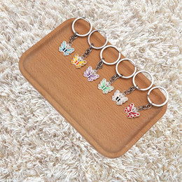 Beautiful luxury girls online shopping - Bling Beautiful Butterfly Shape Keychain Fashion Rhinestone Multicolor Mini Key Ring Unique Luxury Alloy Keys Buckle xm Z