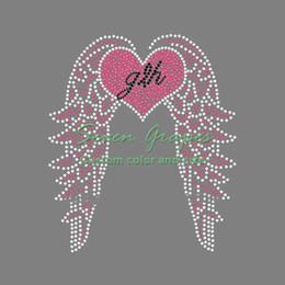 rhinestone hotfix heart NZ - Beauty Love Heart Wings Rhinestone Iron On Transfers Hotfix Motif For Ladies 20pcs