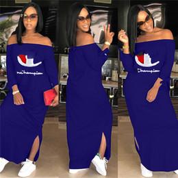 Venta al por mayor de Mujeres Campeones Carta Vestido de Hombro Fuera de Split Larga Con Capucha Vestidos Otoño Otoño Moda Falda de manga larga Tallas grandes Ropa