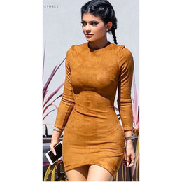 slimming club dresses 2019 - Womens Autumn Winter Long Sleeve Suede Mini Dresses Streetwear Skinny Bodycon Sheath Dresses Woman Party Casual Sexy Sli