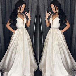 Wholesale Elegant Plus Size Prom Dresses A Line Floor length Long Formal Dress Evening Gown Beads Sash Robe De Soiree