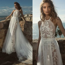 sexy halter wedding dresses NZ - 2018 Sexy Illusion Wedding Dresses Halter Lace Appliques Sweep Train Sequins Bohemian Bridal Gowns With Detachable Train Cheap Wedding Dress