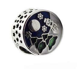 Chinese  100% 925 Sterling Silver Snowy Wonderland Charm Blue & Green Enamel Beads Fit Pandora Charms Bracelet Women Diy Jewelry manufacturers