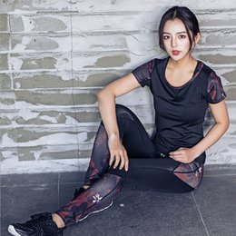 long sports bras 2019 - 3Pcs Women Sport Yoga Set Gym Running Sport Suit Print Bra And Long Pants Black Top Tracksuit Gym Clothing For Women Fit