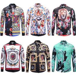 Discount polka dot dress shirts for men - 2019 Luxury Brand Medusa Shirts For Men Fashion Retro Floral Animal Print Silk Shirt Men's Long Sleeve Designer Dre