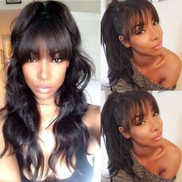 bangs for wavy hair 2019 - Body Wavy Full Lace Wig With Bangs Lace Front Human Hair Wig Full Bangs Natural Color for Black Women
