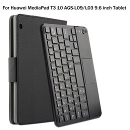 Discount 7 inch tablet case - For Huawei MediaPad T3 10 AGS-L09 L03 9.6 inch Tablet Magnetically Detachable ABS Bluetooth Keyboard PU Leather Case Cov