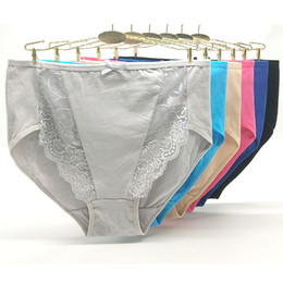 Briefs Pack Australia - Pack of 12 2XL 3XL 4XL Solid Color High Rise Lady Panties Spandex Laced Cotton Mama Size Brief Old Women Underwear Wholesale Pants