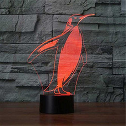 bedding 3d effect Australia - Abstractive 3D Optical Illusion Penguin Shape Colorful Lighting Effect Touch Switch USB Powered LED Decoration Night Light Desk Lamp