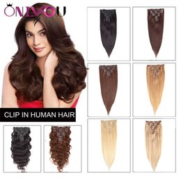 Human Hair extensions clip wave online shopping - Onlyou Peruvian Body Wave Virgin Human Hair Clip In Extensions Unprocessed Full Head pces set straight Clip In Remy Hair Extensions Vendors