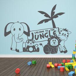 $enCountryForm.capitalKeyWord Australia - Kids Room Jungle Bedroom Wall Sticker Baby Nursery Decor Elephant Lion Monkey Wall Decal Vinyl Forest Animal Sticker