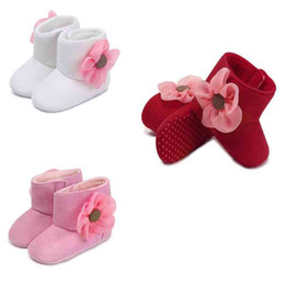$enCountryForm.capitalKeyWord UK - Solid Coloe Floral Toddler Shoes Baby Kids Autumn Winter Cotton Soft Bottom Boots Baby Shoes With Flower Anti-Skid Non-slip Toddler Shoes