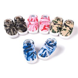 Wholesale Canvas High Shoes Australia - Newborn Camouflage Canvas First Walkers Baby Casual Soft Bottom Shoes Infants Two Strap High Quality Shoes