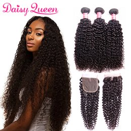 brazilian virgin curly hair weave closure Australia - 8A Brazilian Virgin Curly Weave Human Hair Weft 3 Bundles With Lace Closure Unprocessed Peruvian Indian Mongolian Malaysian Hair Extensions