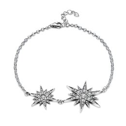 movie star party decorations NZ - Classic 925 Sterling Silver Bracelet Star Four-leaf Hand Link Chain Romantic Girls Jewelry fit For Party Wedding Hand Decoration