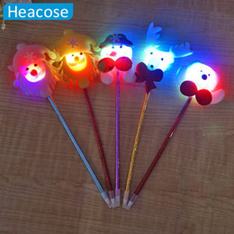 Discount santa pens - glowing Christmas decoration Christmas santa claus deer bear pens Ornament gifts for kids Party decoration supply