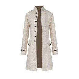Männer Steampunk Military Vintage Mantel Stehkragen Einreiher Solide Jacken Männlich Langarm Slim Kleidung Lange Graben 8J0602 im Angebot