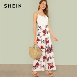 3146af00f9972 SHEIN Multicolor Vacation Boho Bohemian Beach Lace Bodice Floral Print Cami  Maxi Wide Leg Jumpsuit Summer Women Casual Jumpsuit
