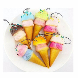 Cute Phone Chains Canada - 10cm New Cute Soft Jumbo Ice Cream Cone squishy slow rising Cell phone Straps Bread Scented Key Chains Charms wholesale free shipping 2018