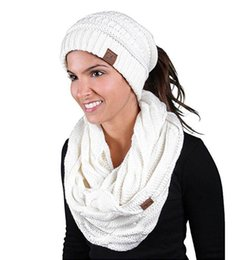InfInIty set wholesale online shopping - New CC Hat Scarves Sets Women CC Ponytail Hats Infinity Scarf Sets Girl Winter Warm Knitted CC Beanies Double Cricle Ring Scarf
