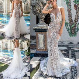 756c08e8 2019 Berta Mermaid Wedding Dresses With Detachable Train Sheer Jewel Neck  Applique Bead Country Bridal Gowns Sweep Train Beach Wedding Dres