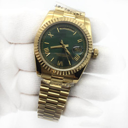 Luxury womens diamond watches online shopping - Luxury Unisex Mens Womens Watch Day Date mm K Gold Green Dial President Sapphire Cystal Diamond Number Men Watches Automatic Mechanical