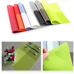 check pad 2019 - 3pcs Lot Table Decoration Gradient color PVC Placemat Check Shape PVC Weaving Disc Pads Cup Pads Washable Placemats for