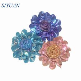 Girls hair rosettes online shopping - 20pcs Handmade Metallic Shiny Rolled Rosette Polyester Flower Girl Hair Clip Accessories TH262
