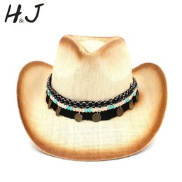 0753d4ee770f3 Women Men Straw Western Cowboy Hat With Western Band For Elegant Lady  Sombrero Hombre Cowgirl Jazz Caps Size 58CM