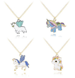 $enCountryForm.capitalKeyWord NZ - Personality Necklace Pendants Cartoon Unicorn Pegasus Shaped Oil Drip Sautoir Hangings Jewelry for Sale Cheap Price