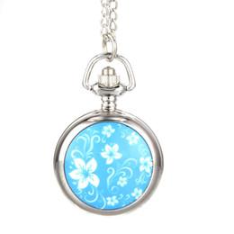 Discount watch pattern girls - Fashion Vintage Women Pocket Watch Alloy Blue Flowers Pattern Lady Girl Sweater Chain Necklace Pendant Clock Gifts LXH