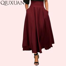 swing dress short skirt 2019 - QIUXUAN Wide Waistband Swing Light Summer Style Skirts Fashion Solid Color High Waist Maxi Double Pocket A-Line Skirt Si