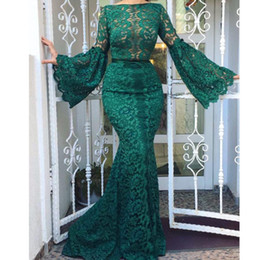 stylish prom dresses sleeves Canada - See Through Lace Prom Dress Stylish Bateau Neck Long Sleeve Zipper Back Party Prom Dresses Sexy Mermaid Dubai Saudi Evening Dress Cheap