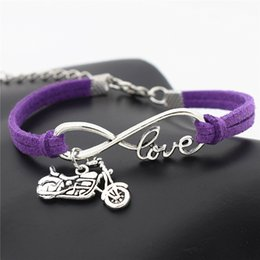 Motorcycle Chain Australia - Fashion Charm Purple Leather Bracelet Bangles For Men Women Vintage Infinity Love Harley Motorcycle Classic Rope Chain Wrap Arm Jewelry 2018